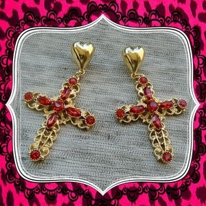 Betsey Johnson Cross Rhinestone Earrings - NWT